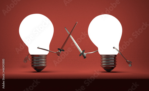 Glowing light bulbs fighting duel on red