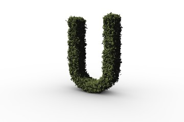Letter u made of leaves