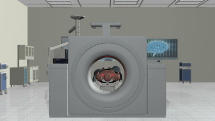 MRI Scan, Camera Fly Through and stop on Brain Scan