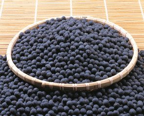 Black soybeans in a basket