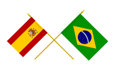 Flags, Brazil and Spain