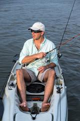 Man Fishing in Kayak