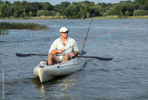 Papiers peints Peche Man Fishing in Kayak