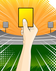 Yellow card soccer referee vector