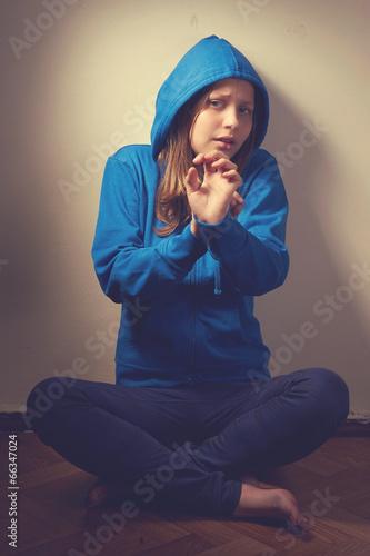 Afraid teen girl