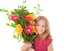 happy child with boquet of flowers for mother's day