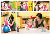 Fototapety Mother and child girl playing in kindergarten in Montessori