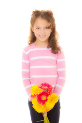 cute kid with bunch of flowers