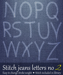 Stitched Letters on Jeans Background 2