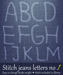 Stitched Letters on Jeans Background