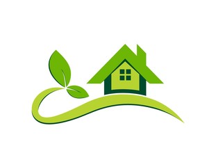 logo house,real estate symbol plants icon