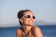 happy woman on summer beach vacation