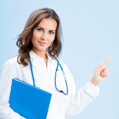 Showing doctor with folder, over blue