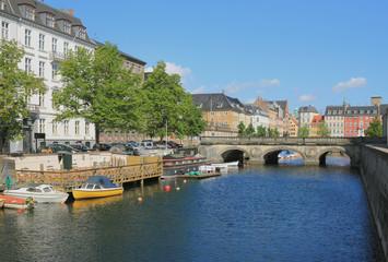 Canal Frederikskholms and Marble bridge. Copenhagen, Denmark