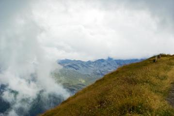 View over a mountainous landscape.
