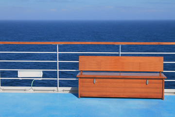 Bench on deck of cruise liner