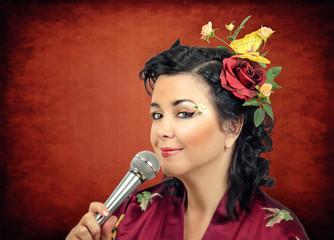 Kimono white woman singing karaoke
