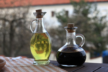 Olive oil and soy sauce