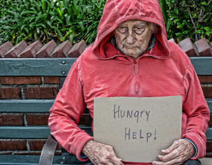 Homeless senior man