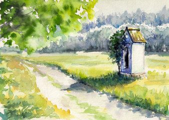Landscape with chapel.Watercolors
