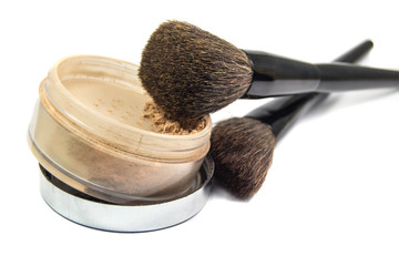 Brushes for the application of cosmetics and powder