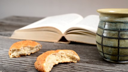 bible with chalice and bread, panning,sliding