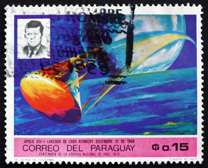 Postage stamp Paraguay 1969 Apollo 8 and John F. Kennedy