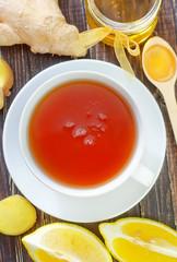 fresh tea with honey and lemon