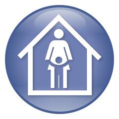 Blauer Hochglanz-Button für eine Kindertagesstätte – Vektor