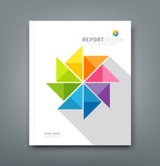 Cover Annual report, colorful windmill origami paper