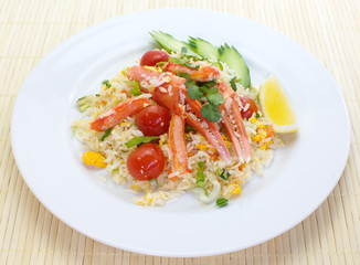asian food fried rice with crab and vegetable