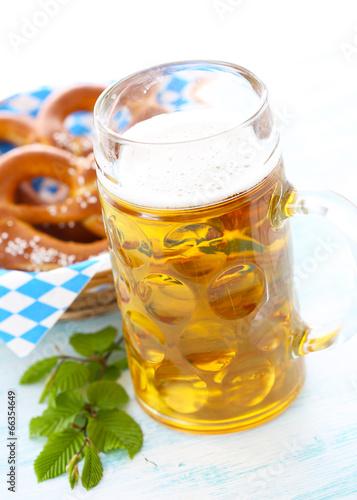 canvas print picture Oktoberfest Bier und Brezeln