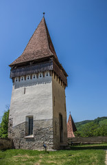 Tower of the fortified church of the Romanian town Biertan