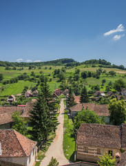 View over Biertan from the tower of the fortified church
