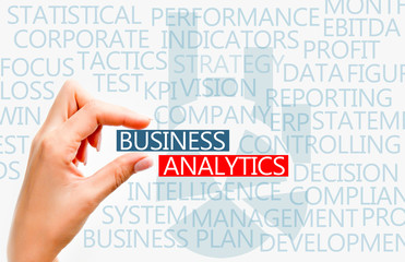 Business analytics concept text
