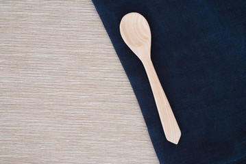 wooden spoon and tablecloth