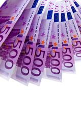 Ein Fächer mit 500-Euro-Geldscheinen