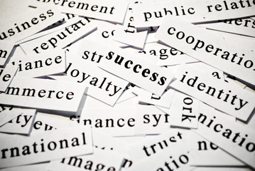 Success. Concept of words related with business