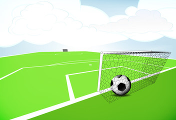 football playground scene with goal score with cloudy sky