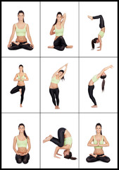 Young woman in a collage with various stretching postures