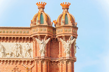 Carvings on the top of The Arch de Triumph in Barcelona, Spain.