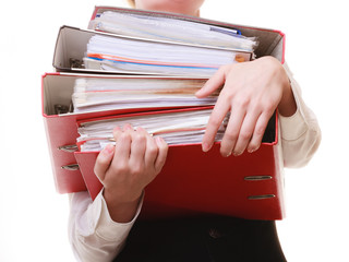 Paperwork. Documents in hands of businesswoman