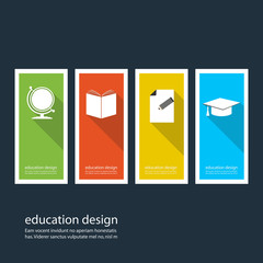 Four colored icons depicting items for education
