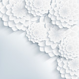 Floral stylish gray background with 3d flowers