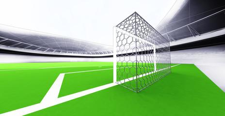 modern football stadium goal view own design