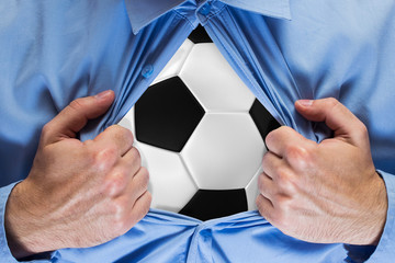 Soccer ball behind a shirt