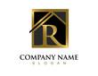 Gold letter R house logo