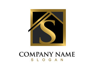 Gold letter S house logo