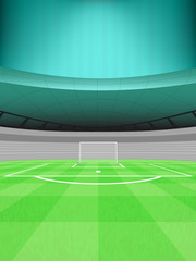 football shooter goal view with striped background vector