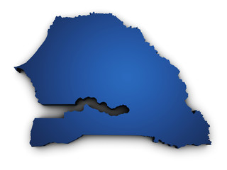 Map Of Senegal 3d Shape